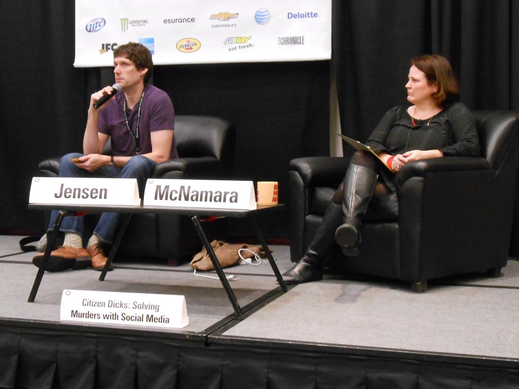 Bill Jensen and Michelle McNamara at the SXSW panel: Citizen Dicks: Solving Murders with Social Media.
