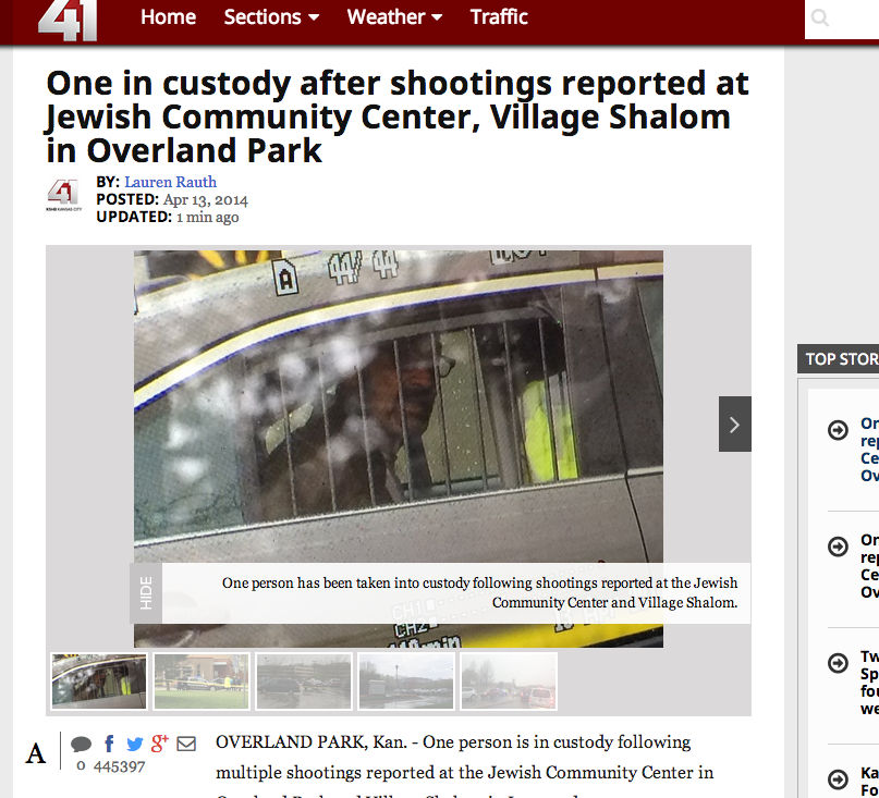 Screenshot from KSHB site, showing suspect in custody.